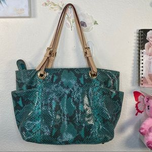 Michael Kors all leather rare python in green